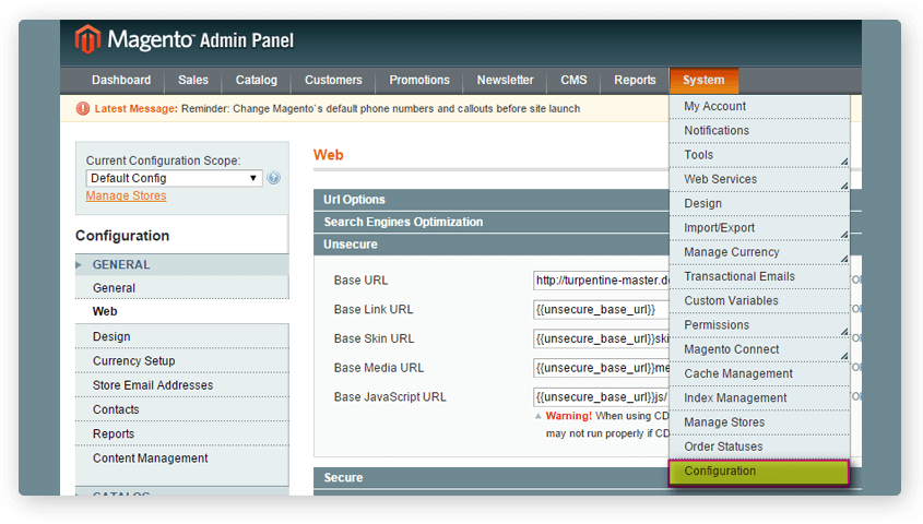 log in to your magento admin panel