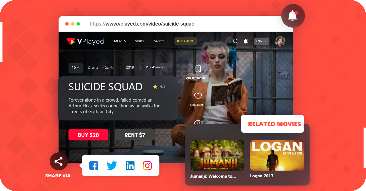 vplayed movie streaming website features